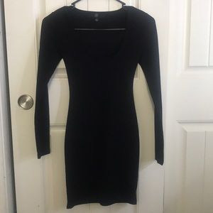 Black crepe square neck long sleeve bodycon dress